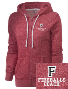 Franklin Elementary School Fireballs Embroidered Women's Marled Full-Zip Hooded Sweatshirt