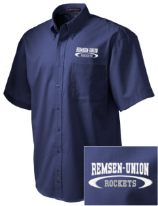 Remsen-Union Community School Rockets Embroidered Men's Easy Care Shirt
