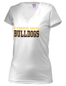 Riverside South Elementary School Bulldogs Juniors' Fine Jersey V-Neck Longer Length T-shirt