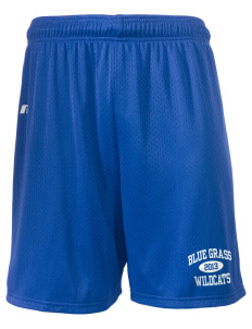 "Blue Grass Elementary School Wildcats  Russell Men's Mesh Shorts, 7"" Inseam"