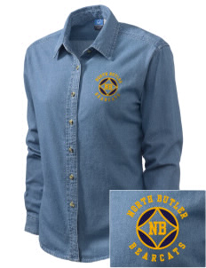 North Butler High School Bearcats Embroidered Women's Long-Sleeve Denim Shirt