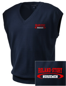 Roland-Story High School Norsemen Embroidered Men's Fine-Gauge V-Neck Sweater Vest