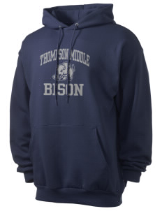 Thompson Middle Elementary School Bison Men's 7.8 oz Lightweight Hooded Sweatshirt
