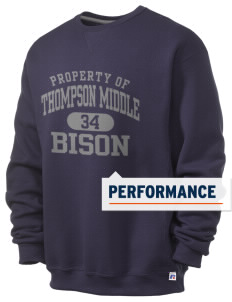 Thompson Middle Elementary School Bison  Russell Men's Dri-Power Crewneck Sweatshirt