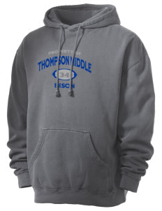 Thompson Middle Elementary School Bison Men's 80/20 Pigment Dyed Hooded Sweatshirt