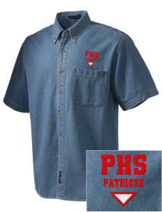 Portsmouth High School Patriots  Embroidered Men's Denim Short Sleeve