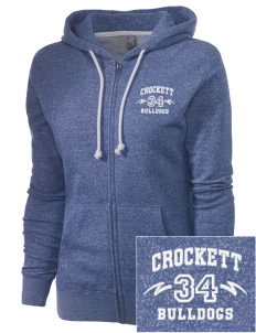 Crockett Elementary School Bulldogs Embroidered Women's Marled Full-Zip Hooded Sweatshirt