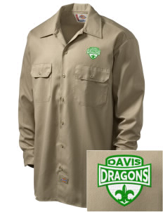 Davis Elementary School Dragons Embroidered Dickies Men's Long-Sleeve Workshirt