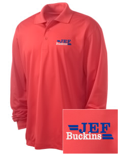 J E Fritz Elementary School Buckins Embroidered Men's Long Sleeve Micropique Sport-Wick Sport Shirt