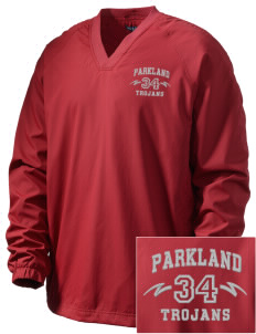 Parkland High School Trojans Embroidered Men's V-Neck Raglan Wind Shirt