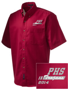 Parkland High School Trojans Embroidered Men's Short Sleeve Twill Shirt