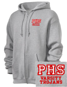 Parkland High School Trojans  Embroidered Russell Men's Dri-Power Fleece Full Zip Hooded Sweatshirt