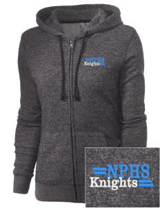 North Penn High School Knights Embroidered Women's Marled Full-Zip Hooded Sweatshirt