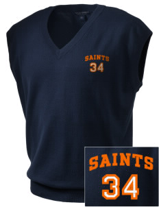 Saint Anthony Catholic School Saints Embroidered Men's Fine-Gauge V-Neck Sweater Vest
