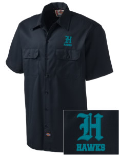 Halmstad Elementary School Hawks Embroidered Dickies Men's Short-Sleeve Workshirt