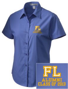 Forest Lane Elementary School Hill Toppers Embroidered Women's Short Sleeve Easy Care, Soil Resistant Shirt