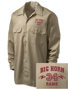 Big Horn Elementary School Rams Embroidered Dickies Men's Long-Sleeve Workshirt