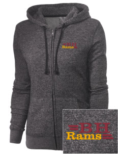 Big Horn Elementary School Rams Embroidered Women's Marled Full-Zip Hooded Sweatshirt