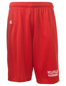 "Wellsville Elementary School Warriors  Russell Deluxe Mesh Shorts, 10"" Inseam"