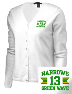 Narrows High School Green Wave Embroidered Women's Stretch Cardigan Sweater