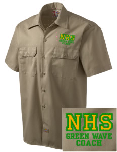 Narrows High School Green Wave Embroidered Dickies Men's Short-Sleeve Workshirt