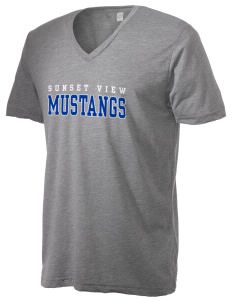 Sunset View Elementary School Mustangs Alternative Men's 3.7 oz Basic V-Neck T-Shirt
