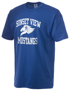 Sunset View Elementary School Mustangs  Russell Men's NuBlend T-Shirt