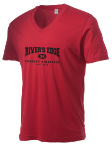 River's Edge High School Firebirds Alternative Men's 3.7 oz Basic V-Neck T-Shirt