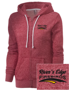 River's Edge High School Firebirds Embroidered Women's Marled Full-Zip Hooded Sweatshirt