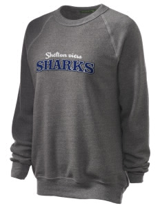 Shelton View Elementary School Sharks Unisex Alternative Eco-Fleece Raglan Sweatshirt with Distressed Applique