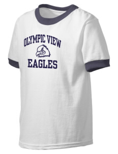 Olympic View Elementary School Eagles Kid's Ringer T-Shirt