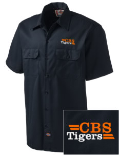 Catherine Blaine School Tigers Embroidered Dickies Men's Short-Sleeve Workshirt