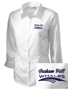Graham Hill Elementary School Whales Embroidered Women's 3/4 Sleeve Non-Iron