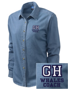 Graham Hill Elementary School Whales Embroidered Women's Long-Sleeve Denim Shirt