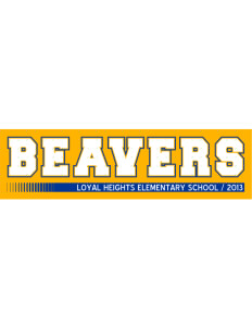 "Loyal Heights Elementary School Beavers Bumper Sticker 11"" x 3"""