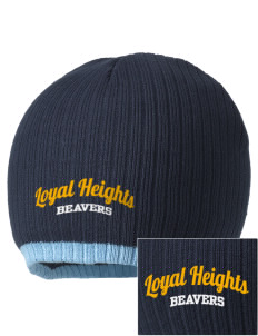 Loyal Heights Elementary School Beavers Embroidered Champion Striped Knit Beanie