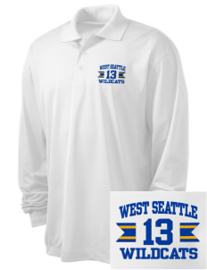 West Seattle High School Wildcats Embroidered Men's Long Sleeve Micropique Sport-Wick Sport Shirt