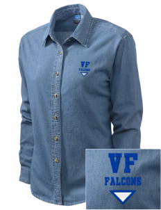Victor Falls Elementary School Falcons Embroidered Women's Long-Sleeve Denim Shirt