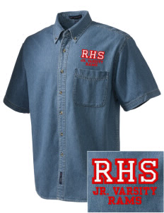 Riverside High School Rams  Embroidered Men's Denim Short Sleeve