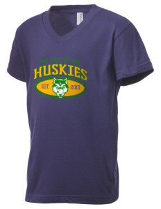 Grant Elementary School Huskies Kid's V-Neck Jersey T-Shirt