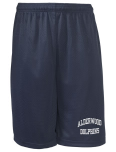 "Alderwood Elementary School Dolphins Long Mesh Shorts, 9"" Inseam"