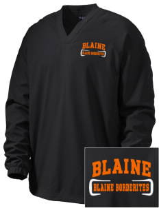 Blaine High School Blaine Borderites Embroidered Men's V-Neck Raglan Wind Shirt