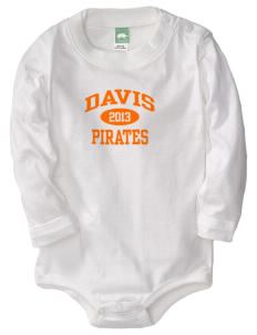 Davis High School Pirates  Baby Long Sleeve 1-Piece with Shoulder Snaps