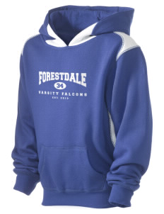 Forestdale School Falcons Kid's Pullover Hooded Sweatshirt with Contrast Color