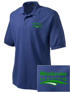 Meadowview Elementary School Hawks Embroidered Tall Men's Silk Touch Polo