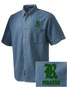 Reedley High School Pirates  Embroidered Men's Denim Short Sleeve