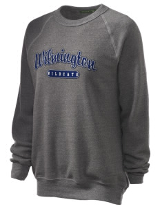 Wilmington High School Wildcats Unisex Alternative Eco-Fleece Raglan Sweatshirt with Distressed Applique
