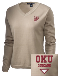 Oklahoma Union School Cougars Embroidered Women's V-Neck Sweater