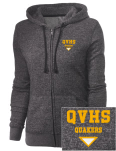 Quaker Valley High School Quakers Embroidered Women's Marled Full-Zip Hooded Sweatshirt