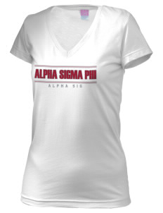 Alpha Sigma Phi Juniors' Fine Jersey V-Neck Longer Length T-shirt